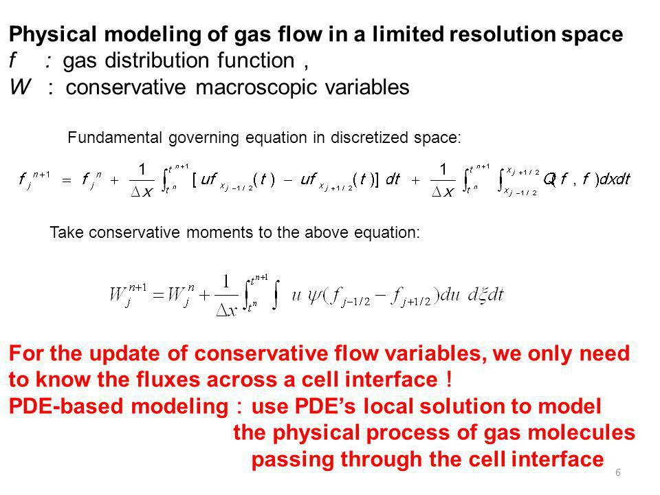 6 Fundamental governing equation in discretized space: Take conservative moments to the above equation: Physical modeling of gas flow in a limited res