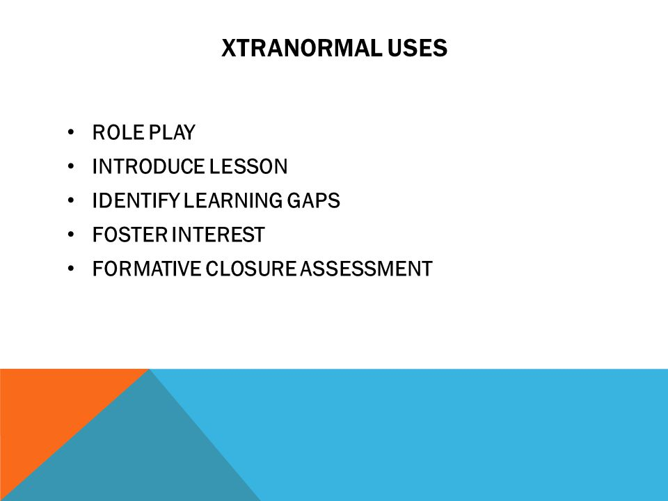 XTRANORMAL USES ROLE PLAY INTRODUCE LESSON IDENTIFY LEARNING GAPS FOSTER INTEREST FORMATIVE CLOSURE ASSESSMENT