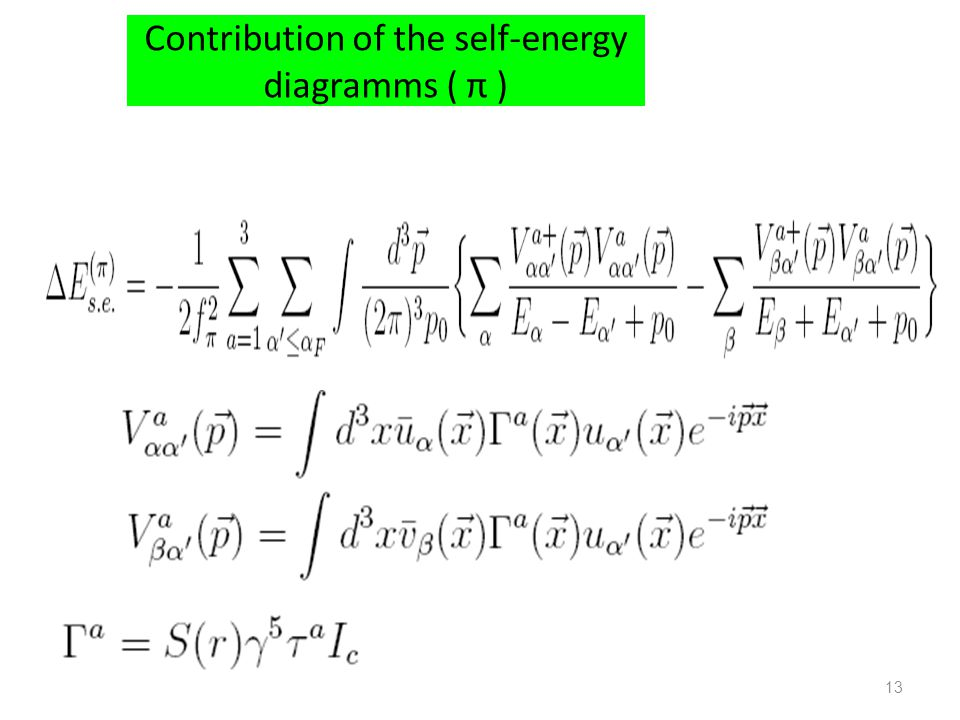 Contribution of the self-energy diagramms ( π ) 13