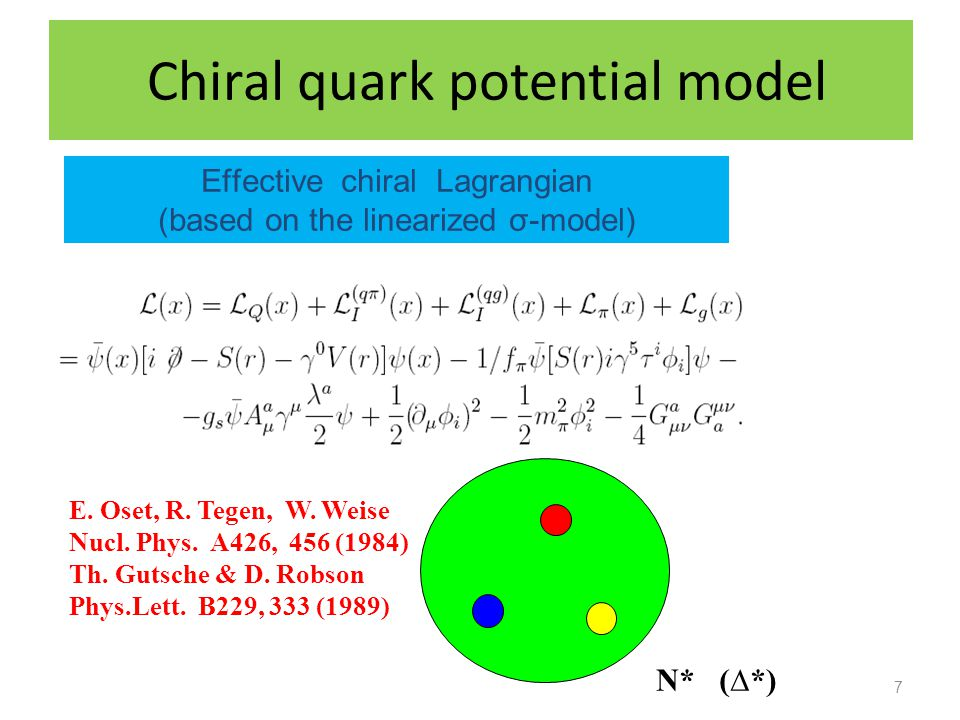 Chiral quark potential model 7 Effective chiral Lagrangian (based on the linearized σ-model) N* (*) E. Oset, R. Tegen, W. Weise Nucl. Phys. A426, 456