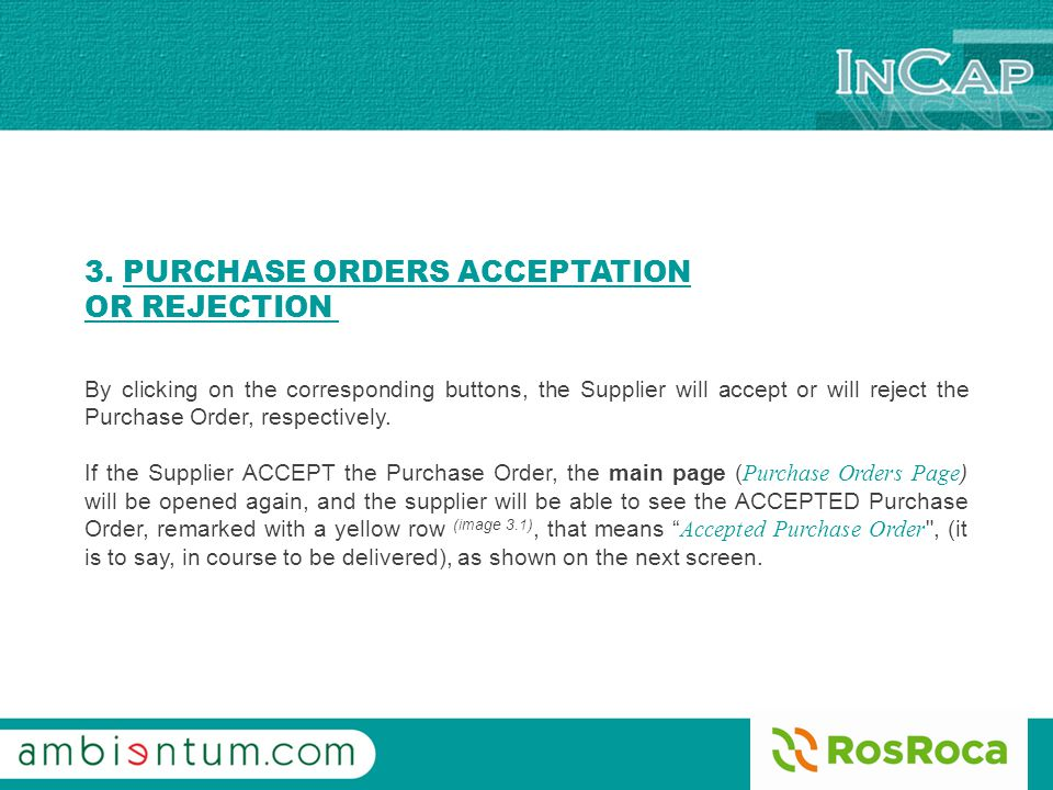 3. PURCHASE ORDERS ACCEPTATION OR REJECTION Image 3.1