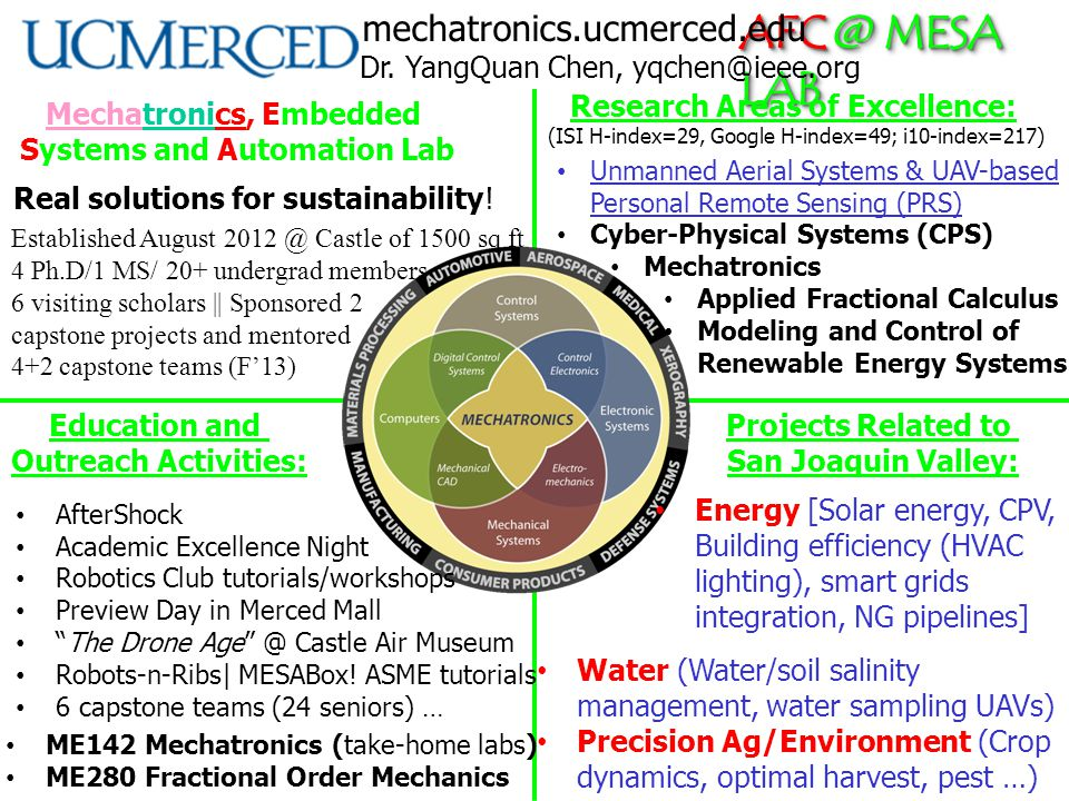 AFC @ MESA LAB Mechatronics, Embedded Systems and Automation Lab Real solutions for sustainability! Education and Outreach Activities: Projects Relate