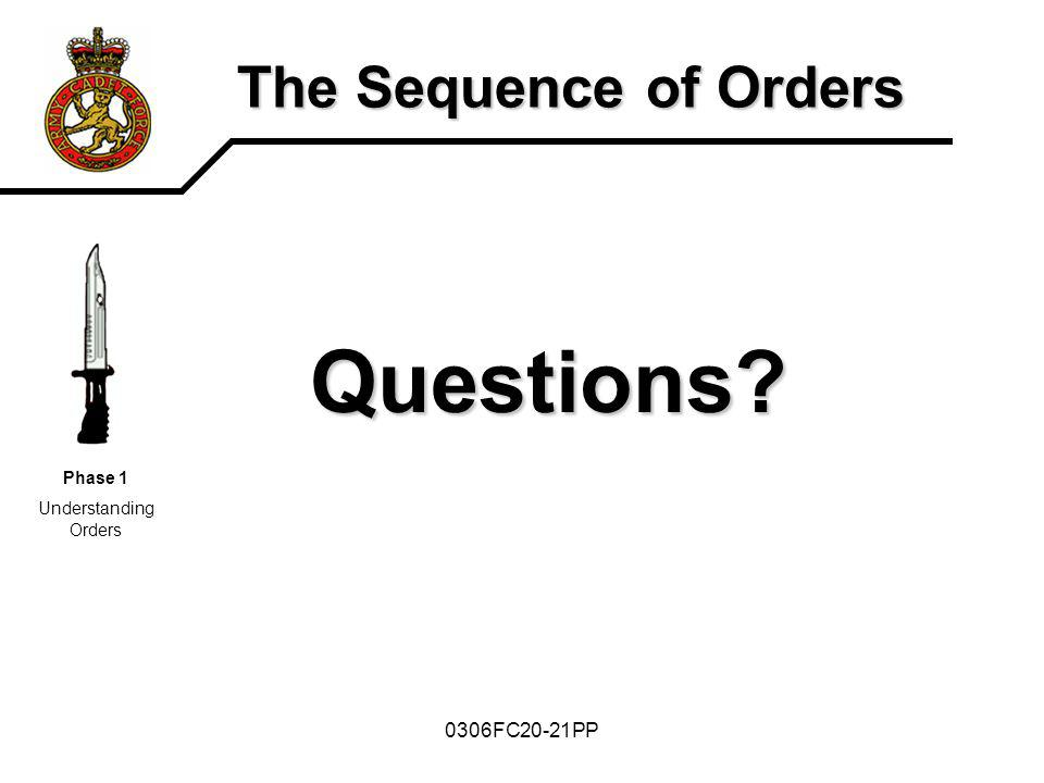 0306FC20-21PP The Sequence of Orders Questions? Phase 1 Understanding Orders