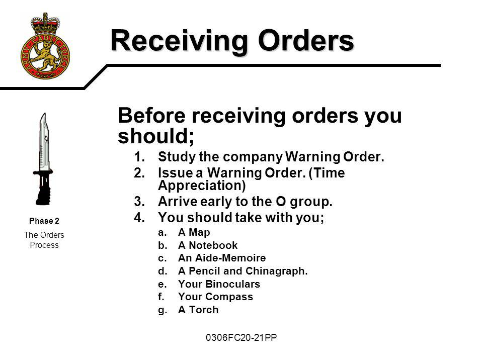0306FC20-21PP Receiving Orders Before receiving orders you should; 1.Study the company Warning Order. 2.Issue a Warning Order. (Time Appreciation) 3.A