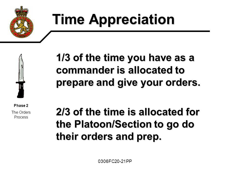 0306FC20-21PP Time Appreciation 1/3 of the time you have as a commander is allocated to prepare and give your orders. 2/3 of the time is allocated for