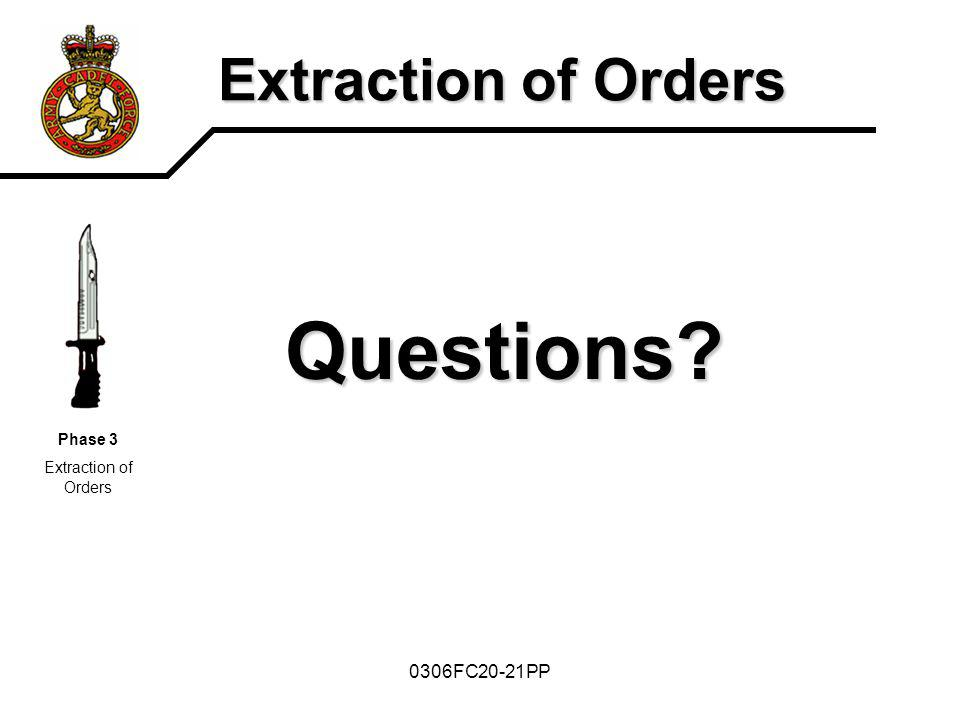 0306FC20-21PP Extraction of Orders Questions? Phase 3 Extraction of Orders
