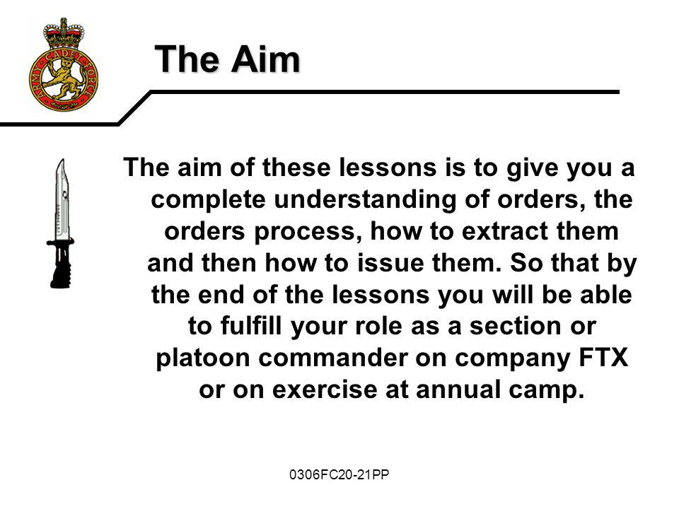 The Aim The aim of these lessons is to give you a complete understanding of orders, the orders process, how to extract them and then how to issue them
