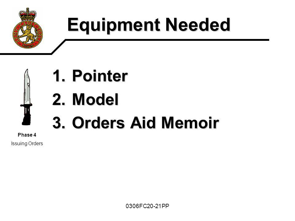 0306FC20-21PP Equipment Needed 1.Pointer 2.Model 3.Orders Aid Memoir Phase 4 Issuing Orders