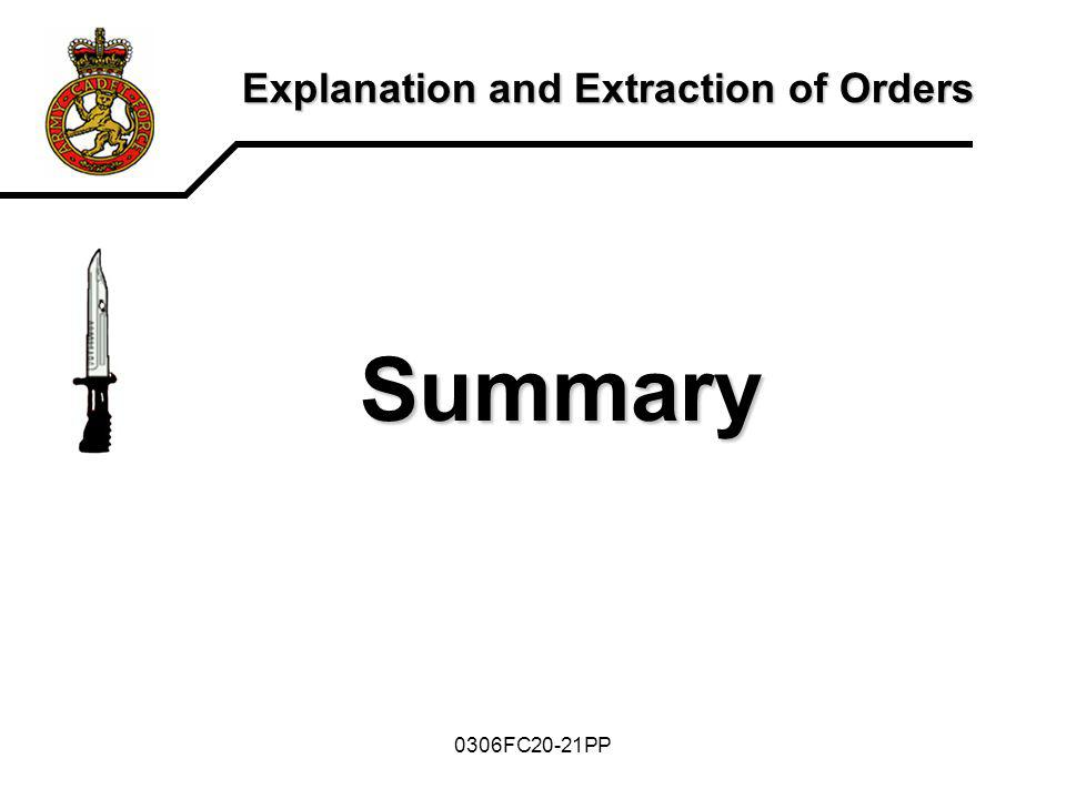 0306FC20-21PP Explanation and Extraction of Orders Summary