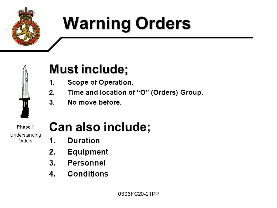 0306FC20-21PP Warning Orders Must include; 1.Scope of Operation. 2.Time and location of O (Orders) Group. 3.No move before. Can also include; 1.Durati