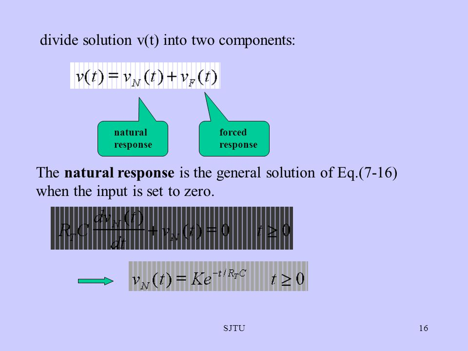 SJTU16 divide solution v(t) into two components: natural response forced response The natural response is the general solution of Eq.(7-16) when the i