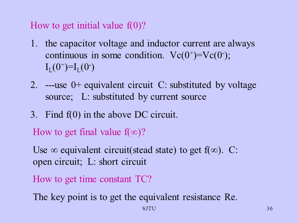 SJTU36 How to get initial value f(0)? 1.the capacitor voltage and inductor current are always continuous in some condition. Vc(0 + )=Vc(0 - ); I L (0