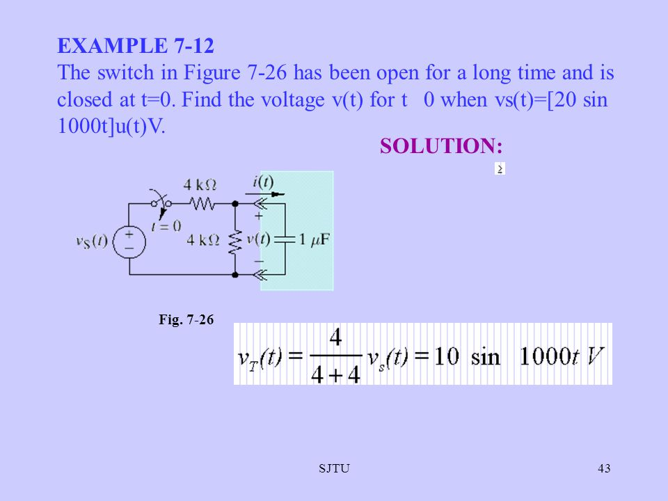 SJTU43 EXAMPLE 7-12 The switch in Figure 7-26 has been open for a long time and is closed at t=0. Find the voltage v(t) for t 0 when vs(t)=[20 sin 100