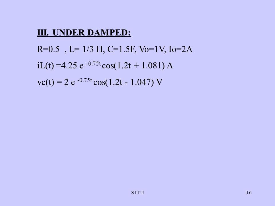 SJTU16 III. UNDER DAMPED: R=0.5, L= 1/3 H, C=1.5F, Vo=1V, Io=2A iL(t) =4.25 e -0.75t cos(1.2t + 1.081) A vc(t) = 2 e -0.75t cos(1.2t - 1.047) V