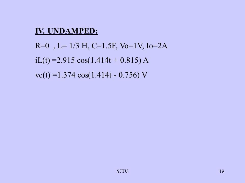 SJTU19 IV. UNDAMPED: R=0, L= 1/3 H, C=1.5F, Vo=1V, Io=2A iL(t) =2.915 cos(1.414t + 0.815) A vc(t) =1.374 cos(1.414t - 0.756) V