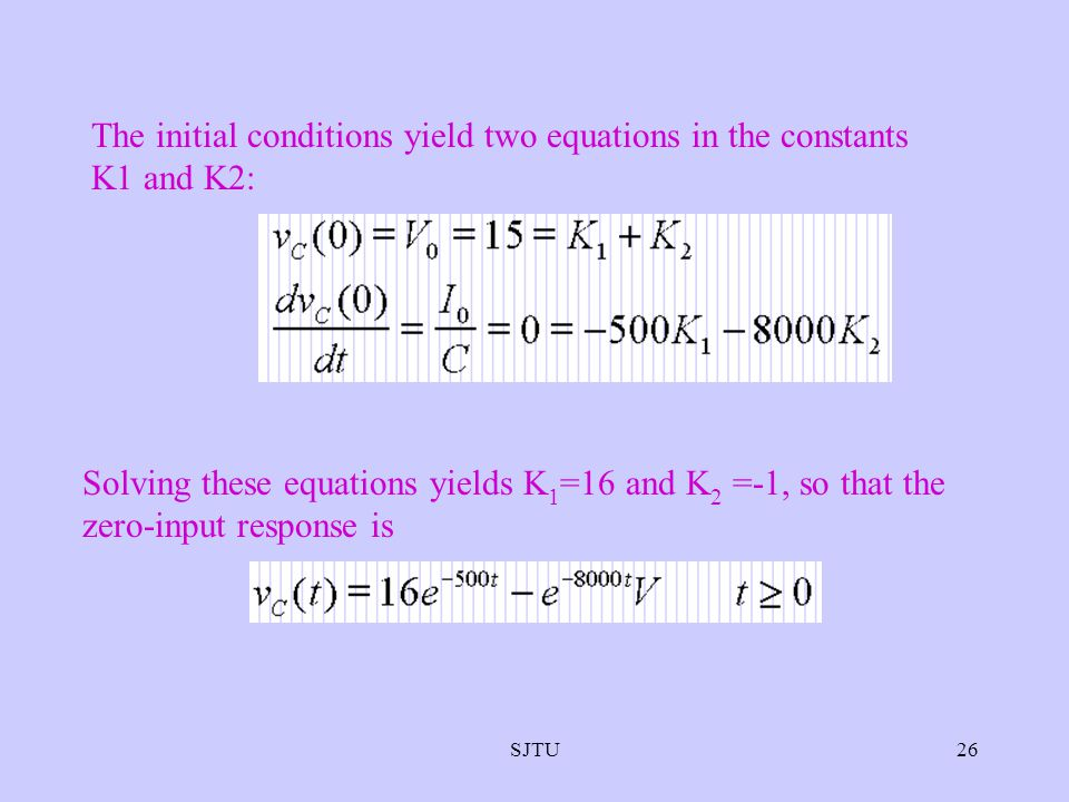 SJTU26 The initial conditions yield two equations in the constants K1 and K2: Solving these equations yields K 1 =16 and K 2 =-1, so that the zero-inp