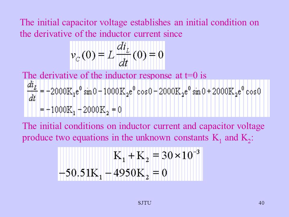 SJTU40 The initial capacitor voltage establishes an initial condition on the derivative of the inductor current since The derivative of the inductor r