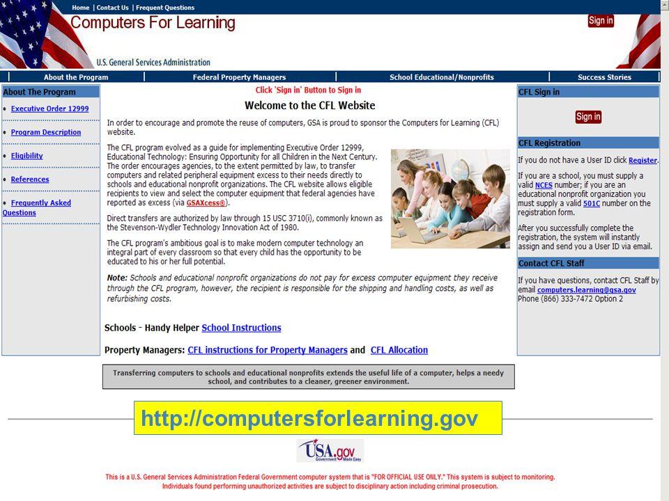 http://computersforlearning.gov