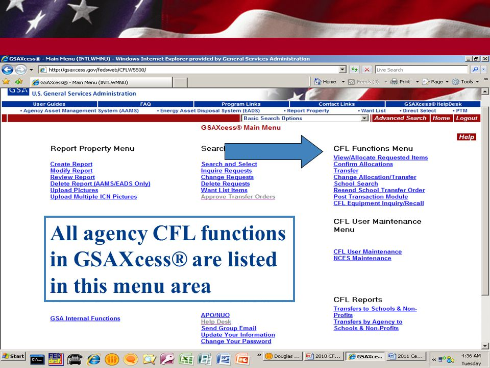 All agency CFL functions in GSAXcess® are listed in this menu area