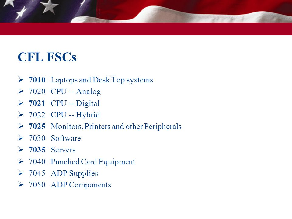 CFL FSCs 7010 Laptops and Desk Top systems 7020 CPU -- Analog 7021 CPU -- Digital 7022 CPU -- Hybrid 7025 Monitors, Printers and other Peripherals 7030 Software 7035 Servers 7040 Punched Card Equipment 7045 ADP Supplies 7050 ADP Components