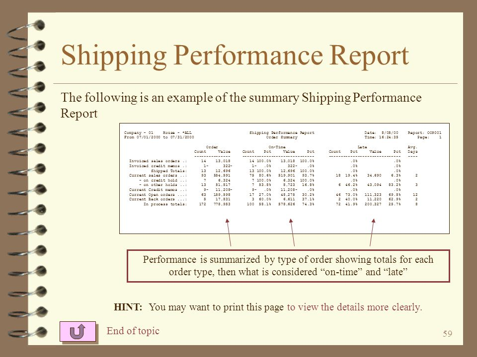 58 Shipping Performance Report 4 When printing details –Select invoiced orders that were on time, late, both or none –Select active sales orders that are on time, late, both or none –Select open orders that are on time, late, both or none