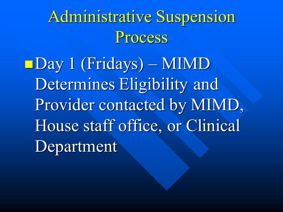 Administrative Suspension Process Day 1 (Fridays) – MIMD Determines Eligibility and Provider contacted by MIMD, House staff office, or Clinical Depart