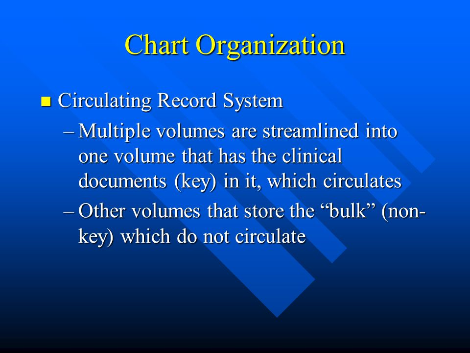 Chart Organization Circulating Record System Circulating Record System –Multiple volumes are streamlined into one volume that has the clinical documen