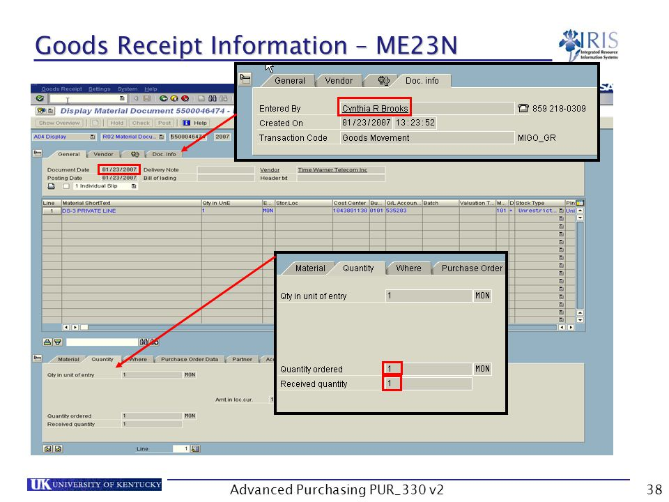 Advanced Purchasing PUR_330 v238 Goods Receipt Information – ME23N