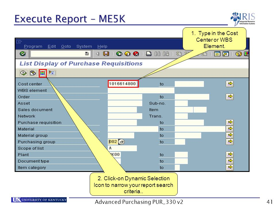Advanced Purchasing PUR_330 v241 Execute Report – ME5K 1.