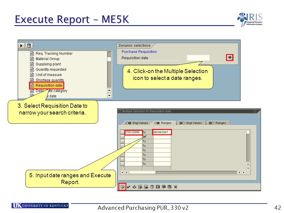 Advanced Purchasing PUR_330 v242 Execute Report – ME5K 3.