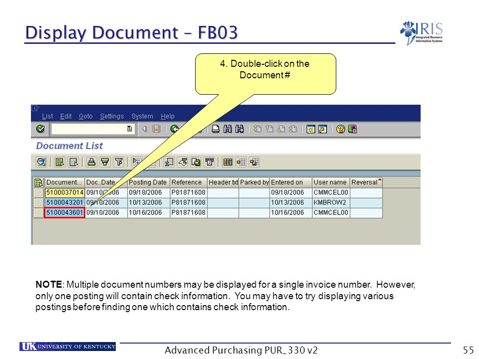 Advanced Purchasing PUR_330 v255 Display Document – FB03 4.