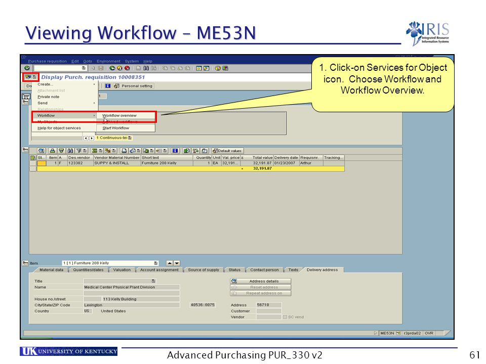 Advanced Purchasing PUR_330 v261 Viewing Workflow – ME53N 1.