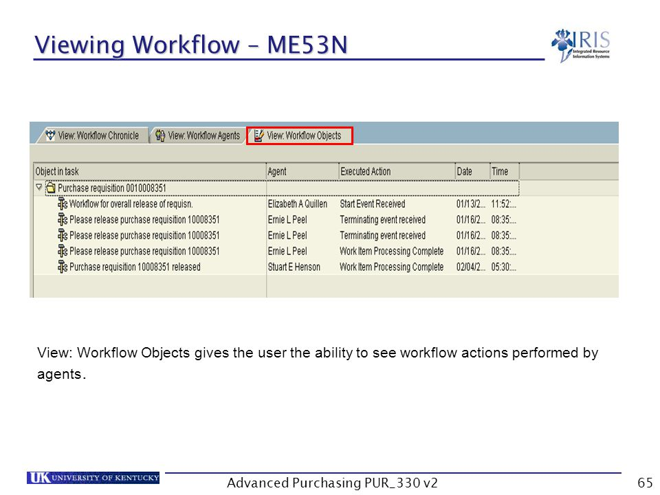 Advanced Purchasing PUR_330 v265 Viewing Workflow – ME53N View: Workflow Objects gives the user the ability to see workflow actions performed by agents.