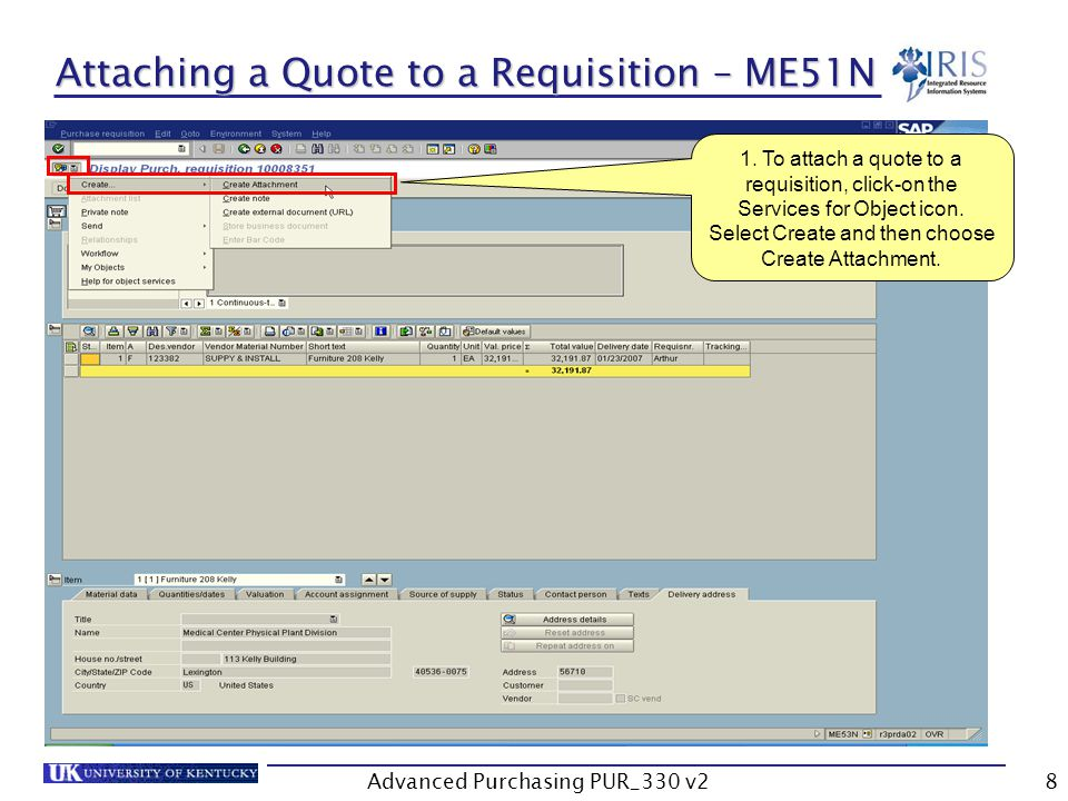 Advanced Purchasing PUR_330 v28 Attaching a Quote to a Requisition – ME51N 1.