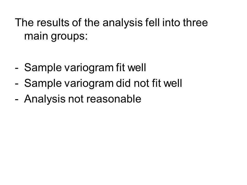 The results of the analysis fell into three main groups: -Sample variogram fit well -Sample variogram did not fit well -Analysis not reasonable