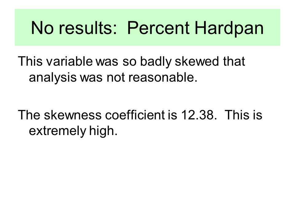 No results: Percent Hardpan This variable was so badly skewed that analysis was not reasonable.