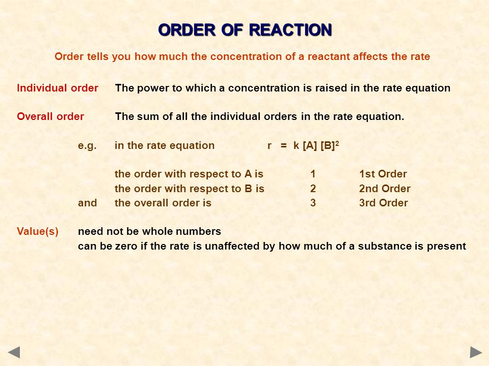 ORDER OF REACTION Individual order The power to which a concentration is raised in the rate equation Overall orderThe sum of all the individual orders
