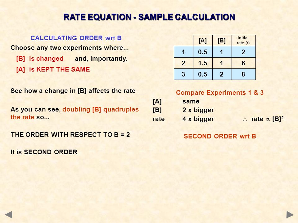 0.512 1.516 0.528 1 2 3 [A][B] Initial rate (r) CALCULATING ORDER wrt B Choose any two experiments where...