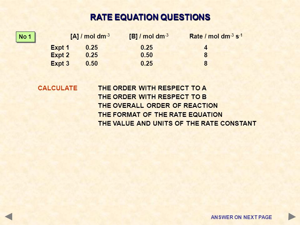 RATE EQUATION QUESTIONS CALCULATETHE ORDER WITH RESPECT TO A THE ORDER WITH RESPECT TO B THE OVERALL ORDER OF REACTION THE FORMAT OF THE RATE EQUATION
