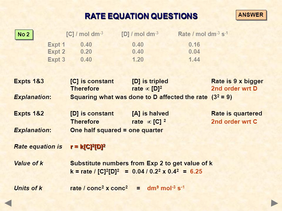 RATE EQUATION QUESTIONS [C] / mol dm -3 [D] / mol dm -3 Rate / mol dm -3 s -1 Expt 1 0.400.400.16 Expt 2 0.200.400.04 Expt 3 0.401.201.44 No 2 Expts 1