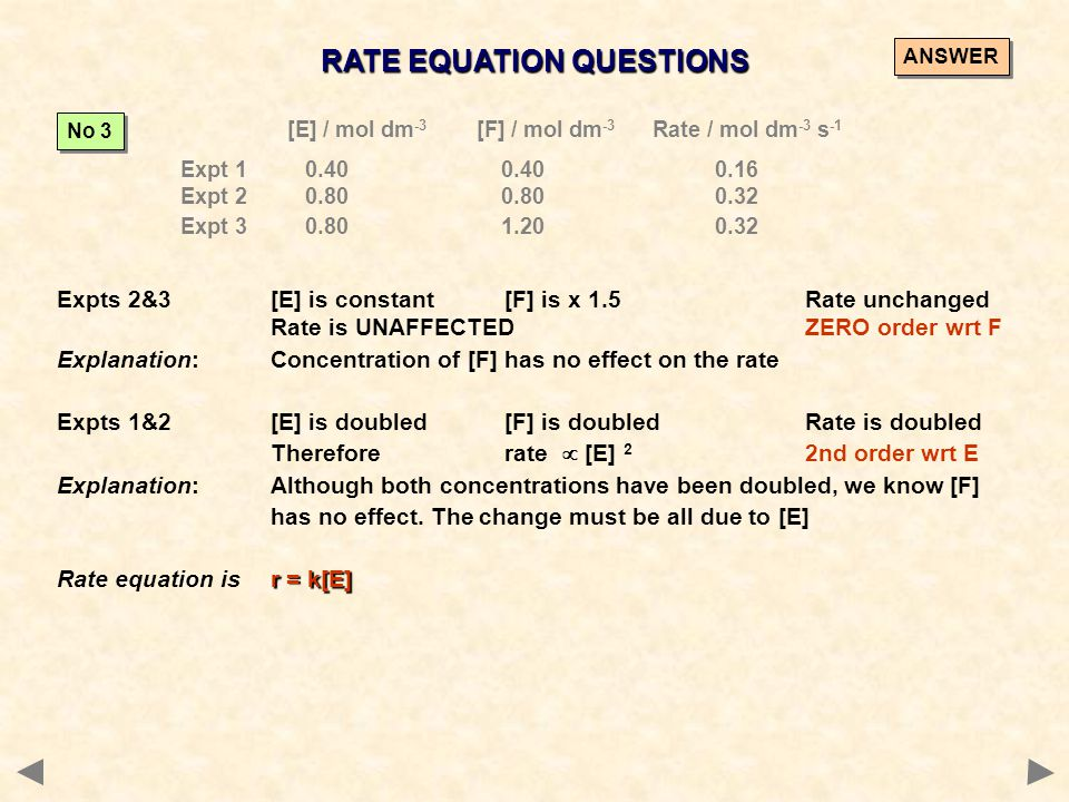 RATE EQUATION QUESTIONS [E] / mol dm -3 [F] / mol dm -3 Rate / mol dm -3 s -1 Expt 1 0.400.400.16 Expt 2 0.800.800.32 Expt 3 0.801.200.32 No 3 Expts 2