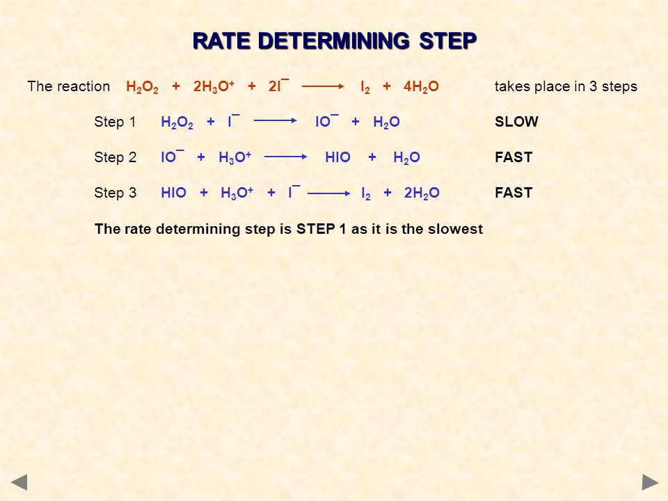 RATE DETERMINING STEP The reaction H 2 O 2 + 2H 3 O + + 2I¯ I 2 + 4H 2 O takes place in 3 steps Step 1H 2 O 2 + I¯ IO¯ + H 2 O SLOW Step 2IO¯ + H 3 O