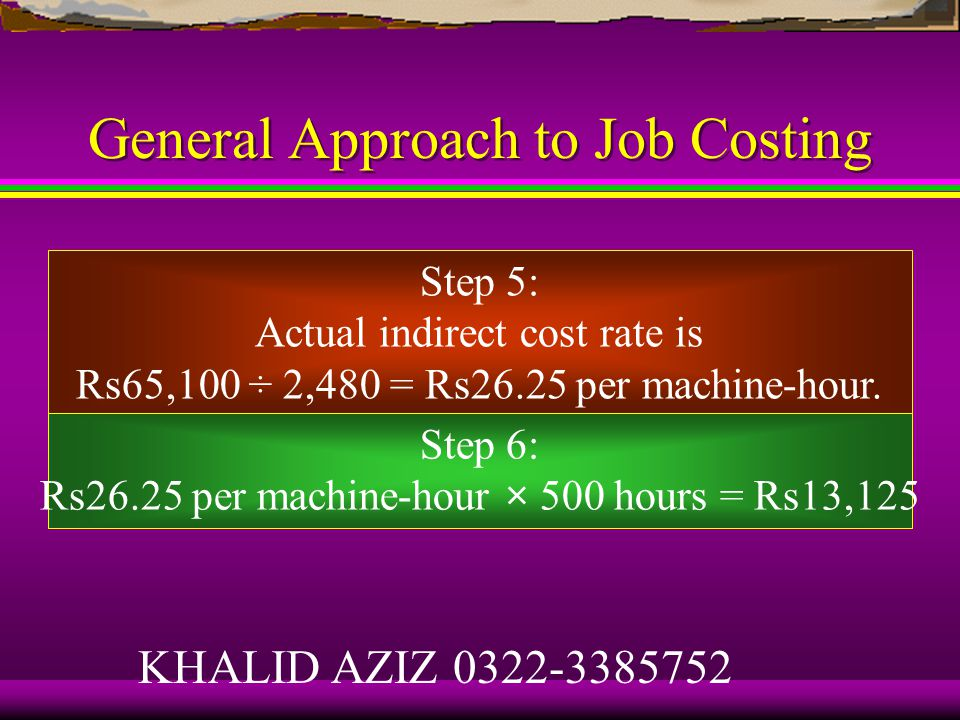 General Approach to Job Costing Step 3: The cost allocation base is machine-hours.