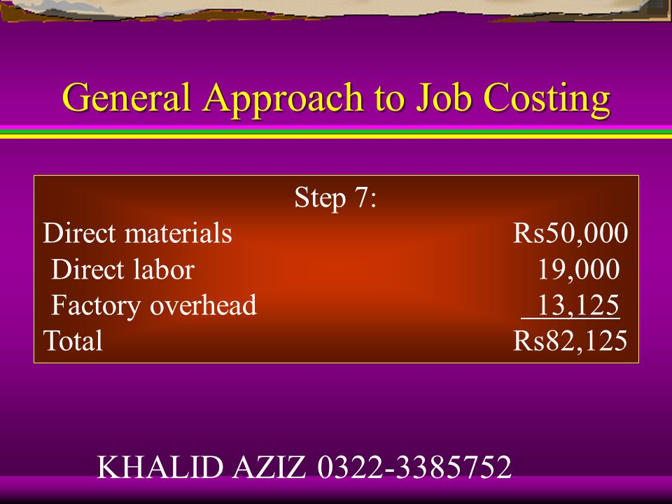 General Approach to Job Costing Step 5: Actual indirect cost rate is Rs65,100 ÷ 2,480 = Rs26.25 per machine-hour.