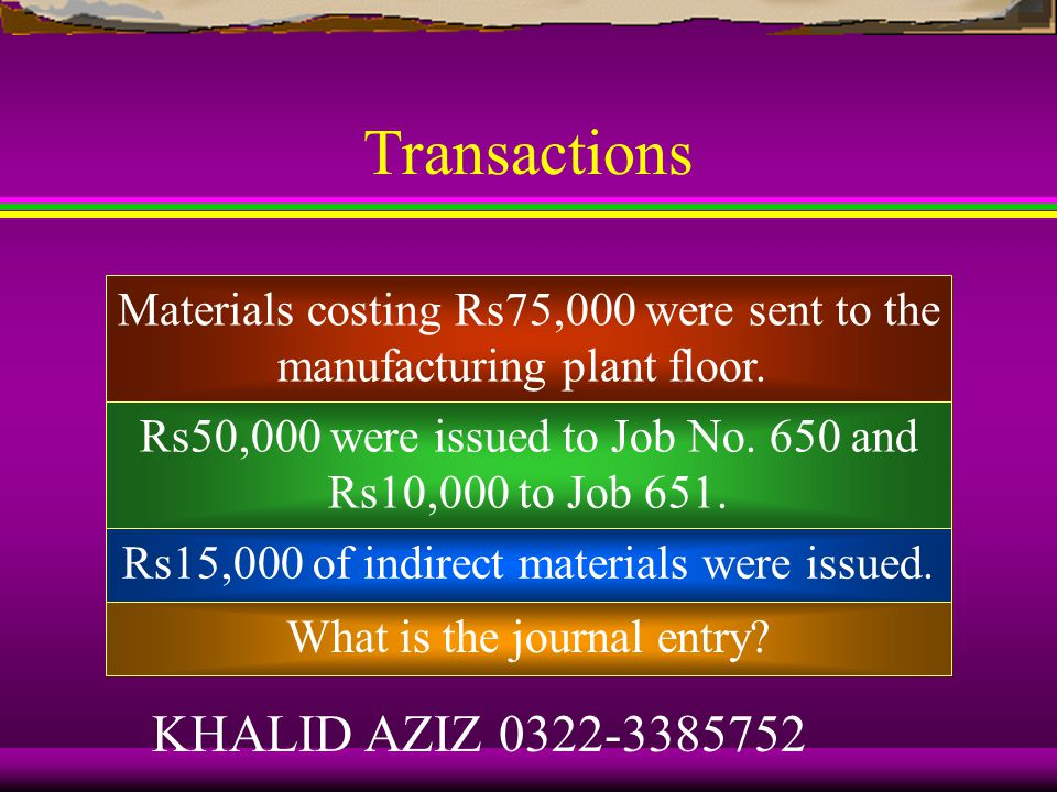 Transactions Rs80,000 worth of materials (direct and indirect) were purchased on credit.