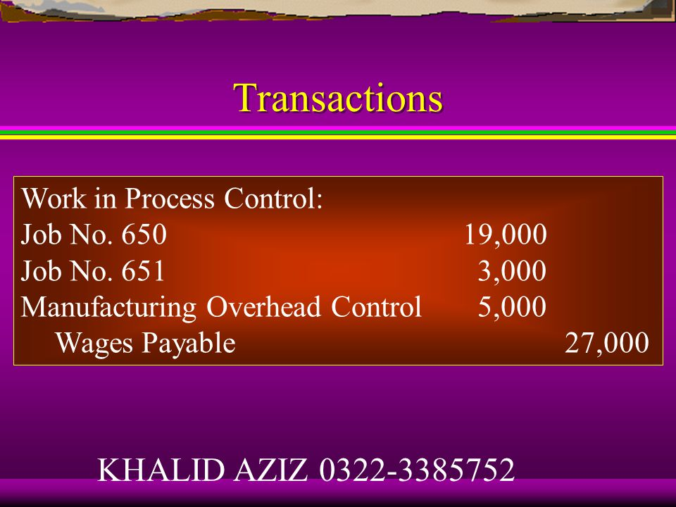 Transactions Total manufacturing payroll for the period was Rs27,000.