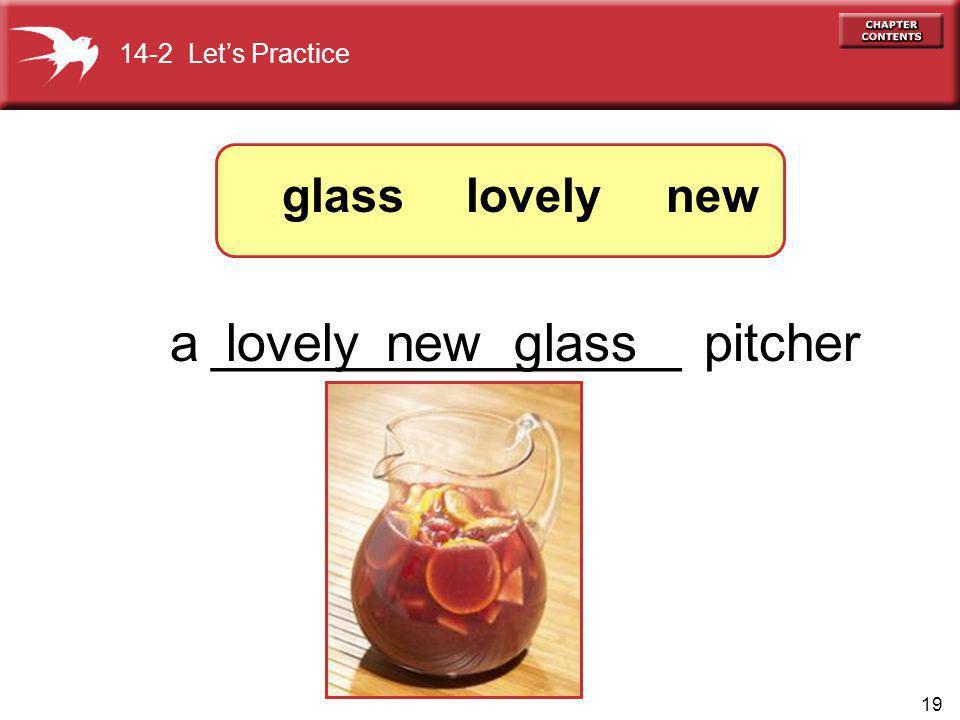 19 a ________________ pitcher lovelynew lovelyglass new 14-2 Lets Practice