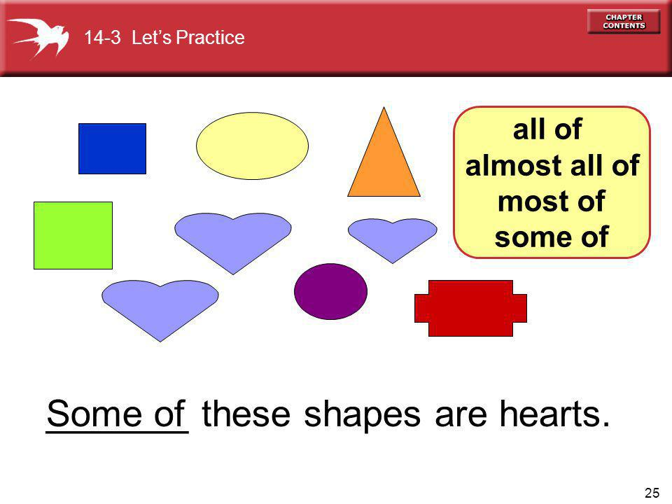 25 all of almost all of most of some of _______ these shapes are hearts.Some of 14-3 Lets Practice