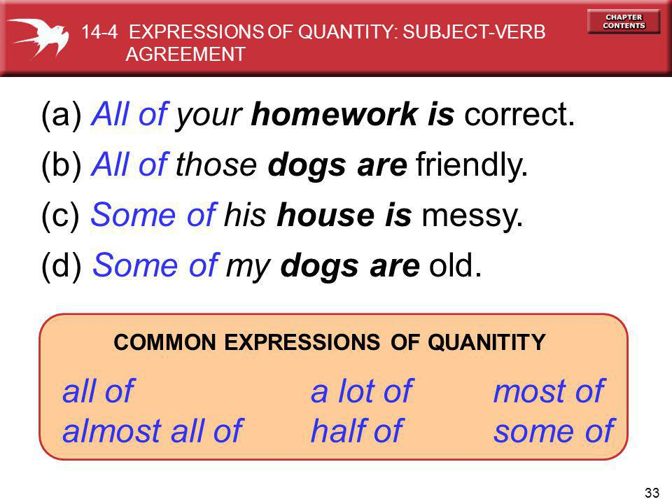 33 (a) All of your homework is correct. (b) All of those dogs are friendly. (c) Some of his house is messy. (d) Some of my dogs are old. COMMON EXPRES