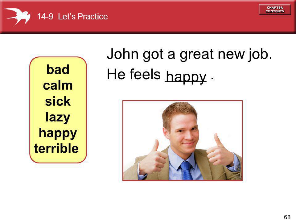 68 John got a great new job. He feels _____. happy bad calm sick lazy happy terrible 14-9 Lets Practice